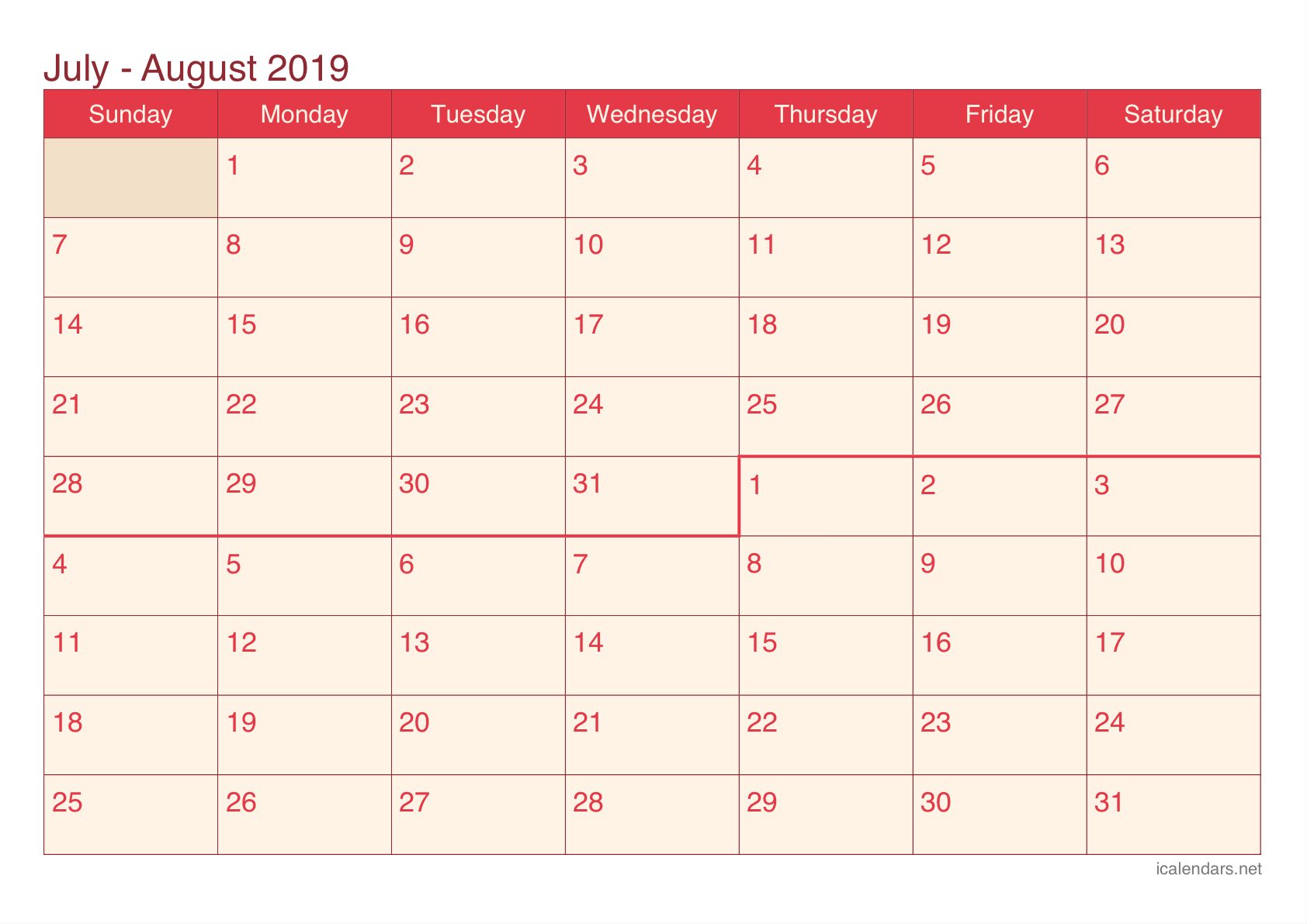 July And August 2019 Printable Calendar - Icalendars with regard to June And July Blank Calendar