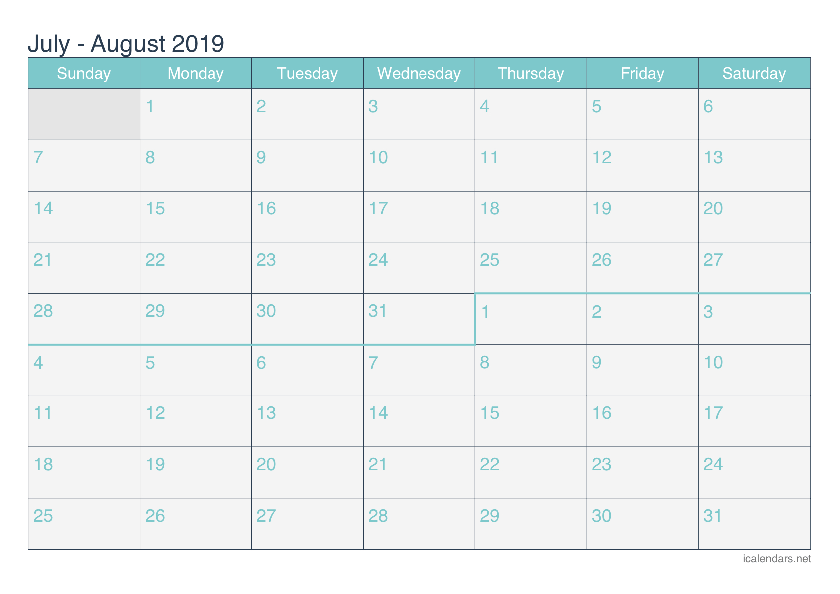 July And August 2019 Printable Calendar - Icalendars within Blank June July August Calendar