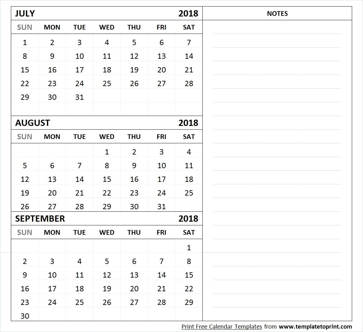 July August September 2018 Calendar Template | 3 Month Calendar for Printable July Augsut September Calendar Template