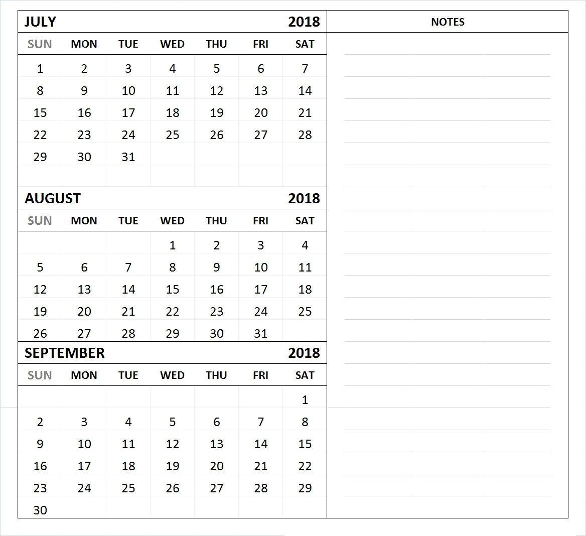 July August September 2018 Calendar Template 3 Month Calendar throughout Excel 3 Month Calendar Template