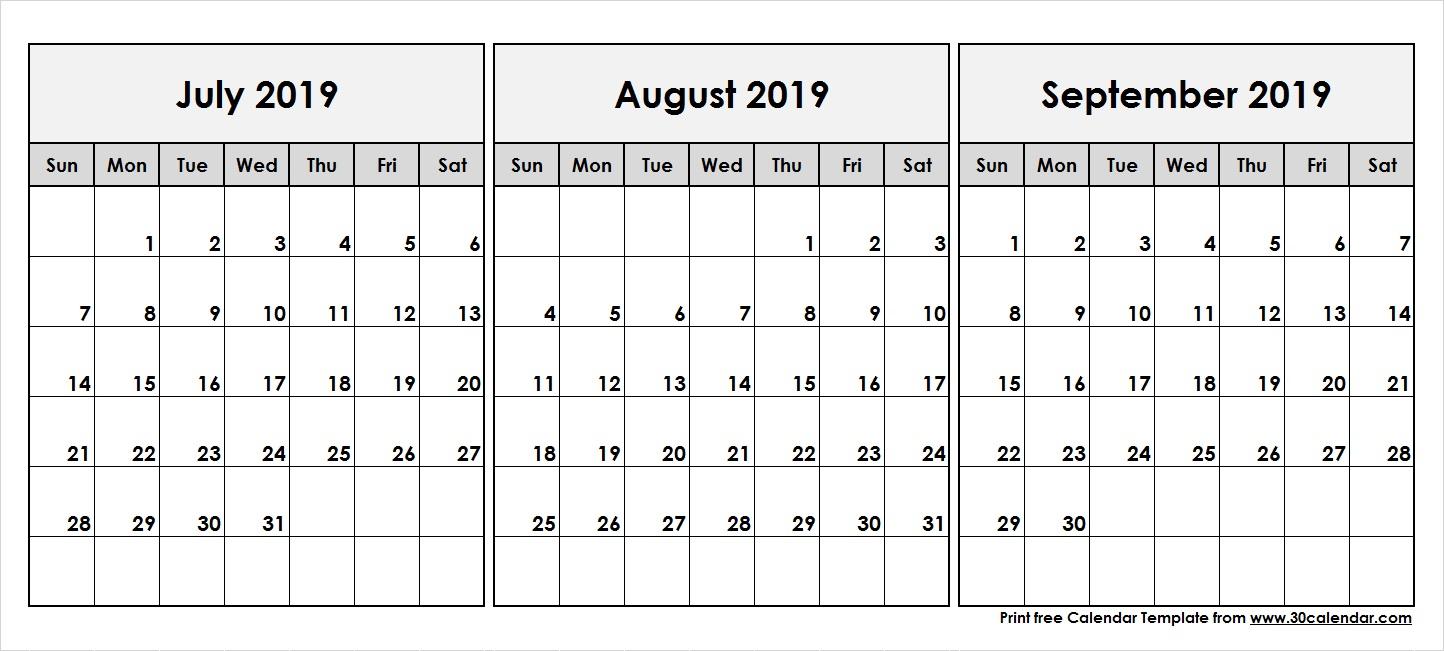 July August September 2019 Calendar | 3 Month Calendar Template pertaining to Printable July Augsut September Calendar Template