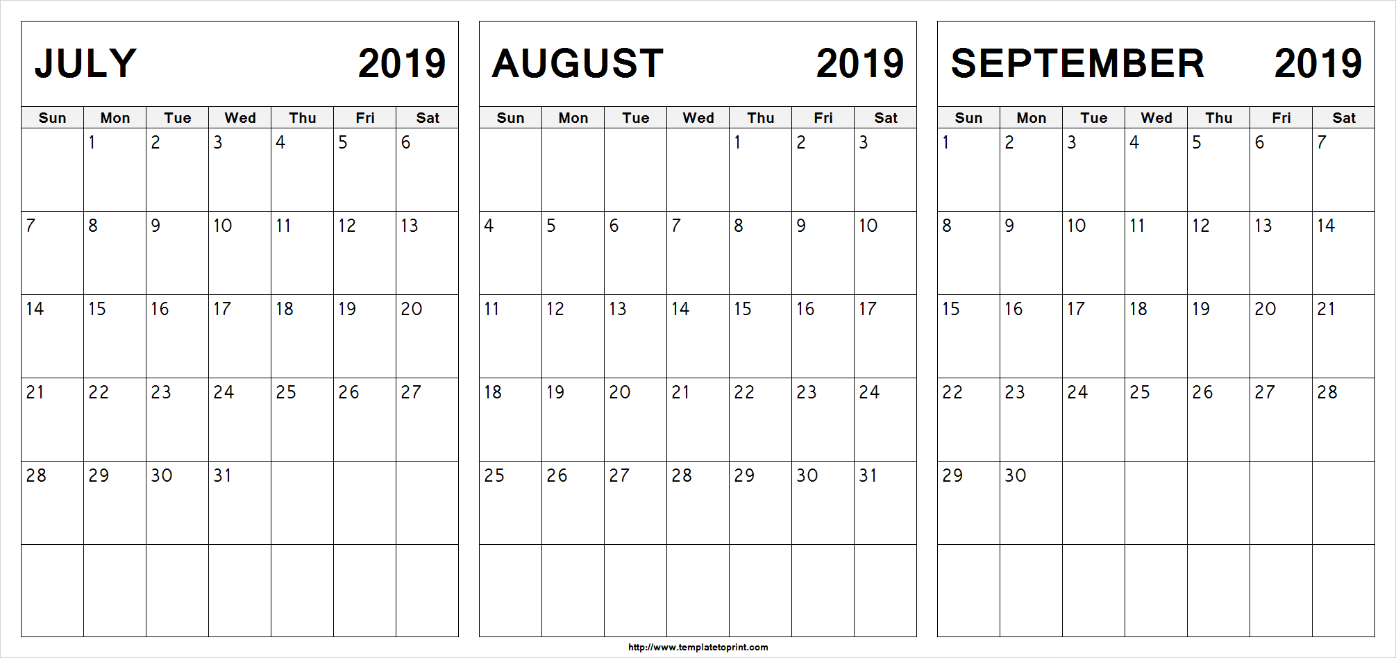 July August September 2019 Calendar | July Month Calendar 2019 Printable in Calendars Sept And October 2019