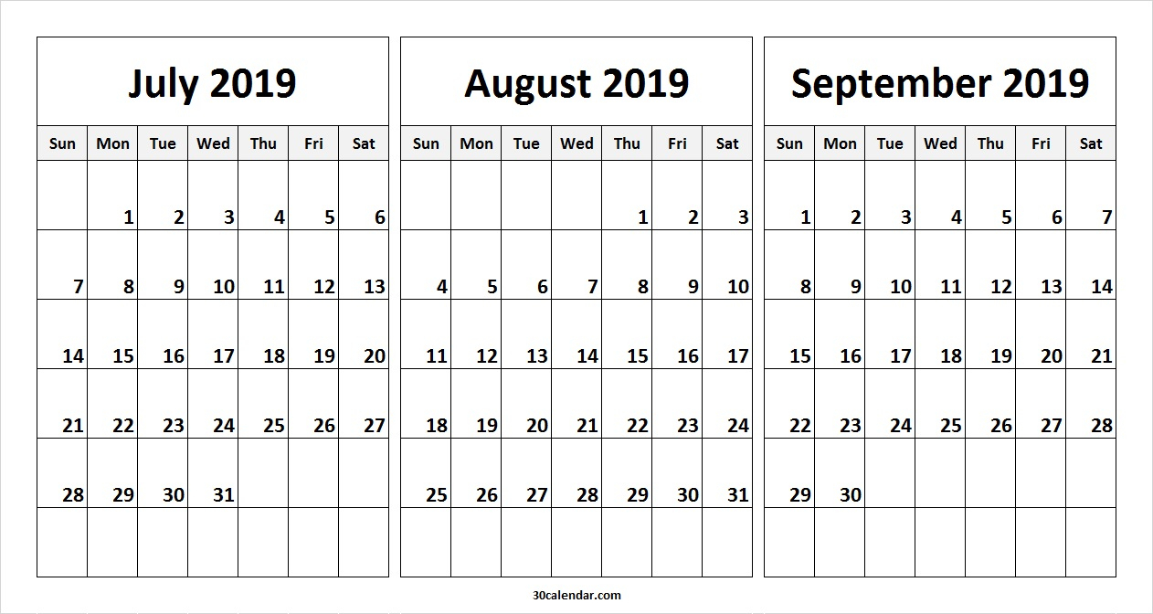 July August September 2019 Calendar | July Month Calendar 2019 Printable pertaining to Blank June July August Calendar