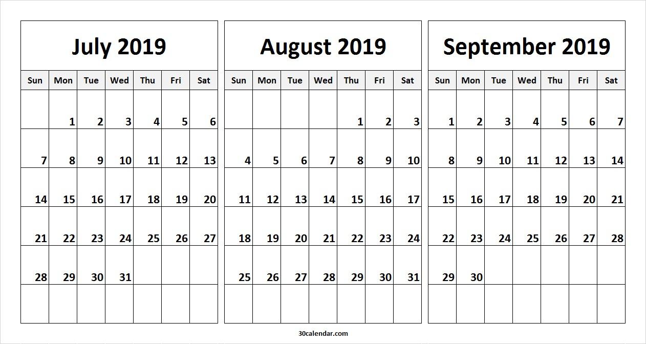 July August September 2019 Calendar | July Month Calendar 2019 Printable throughout Blank Calendar June July August