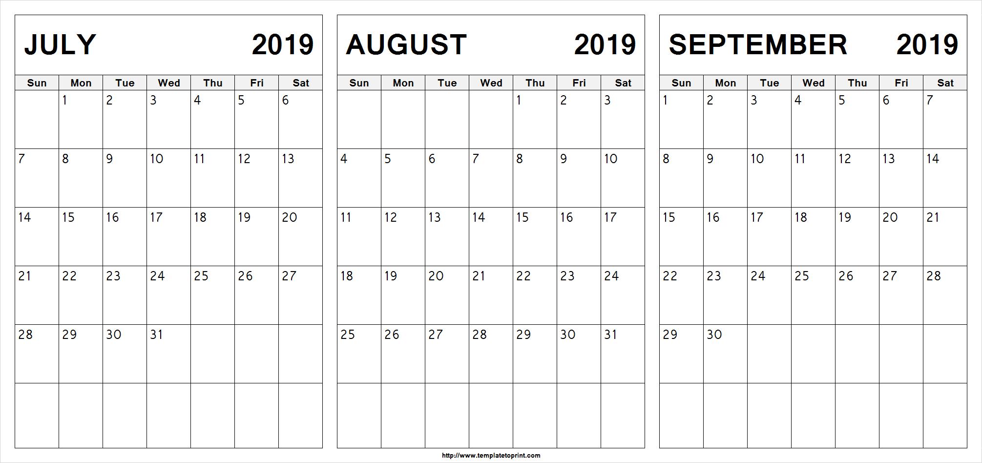 July August September 2019 Calendar | July Month Calendar 2019 Printable with Calendar Blanks August Through October 2019