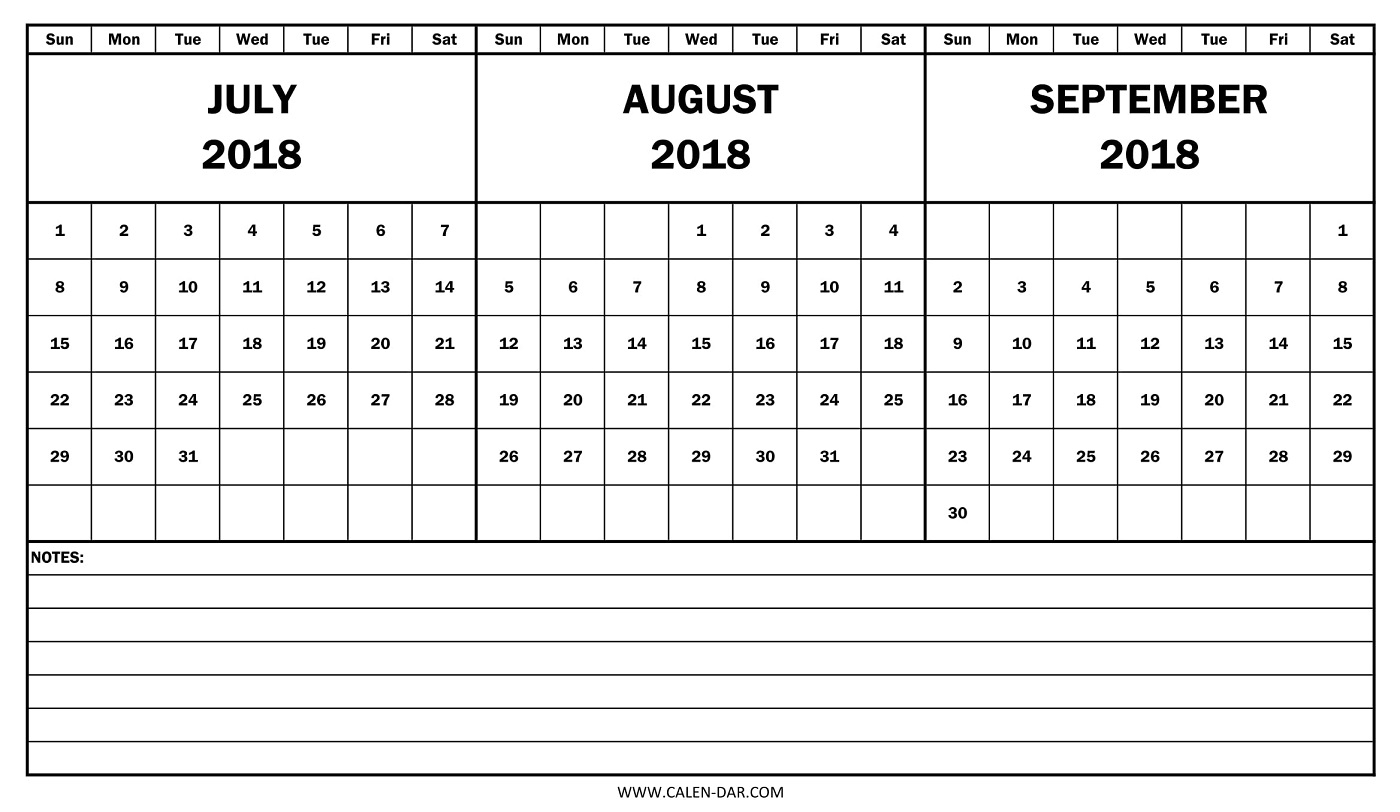 July August September Calendar 2018 Printable | Three Month Calendar for Printable July Augsut September Calendar Template