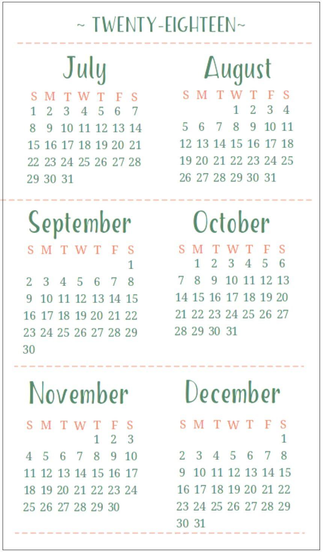 July August September October November December 2018 Calendar 6 within July Through December Blank Calendars