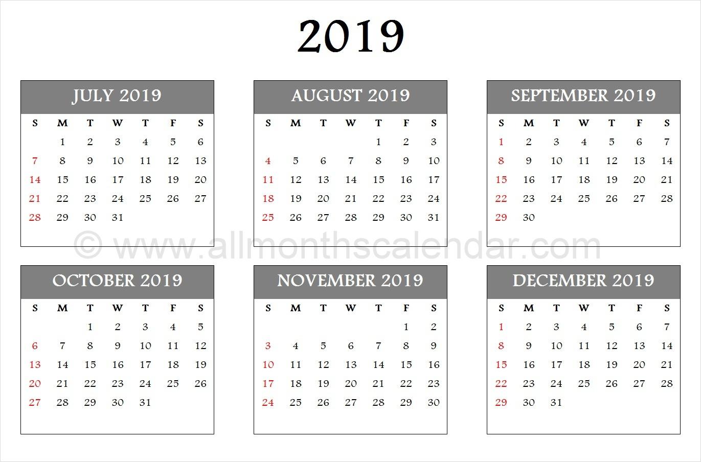 July August September October November December 2019 Calendar Template within July Through December Blank Calendars