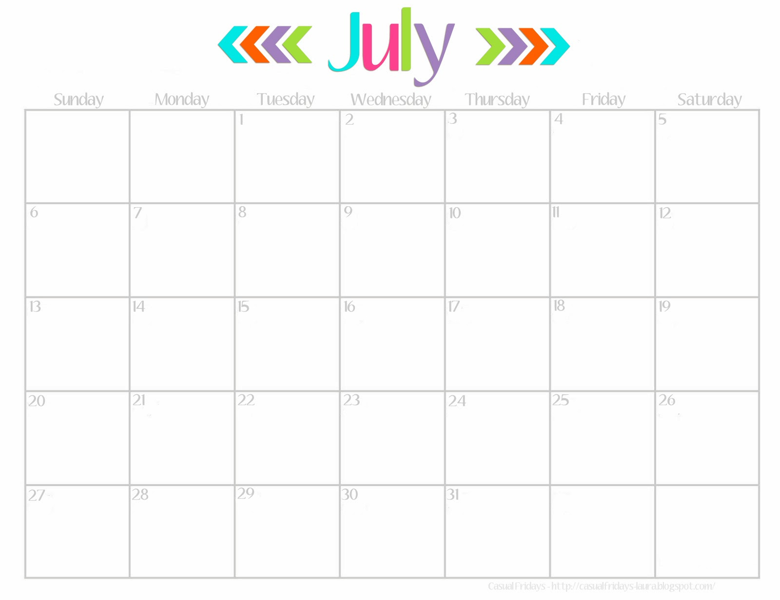 July Blank Calendar Template 2016 - Radiodignidad pertaining to Cute Calendar Template August
