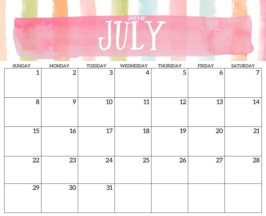 July Calendar 2018 Printable inside Cute Calendar Templates July