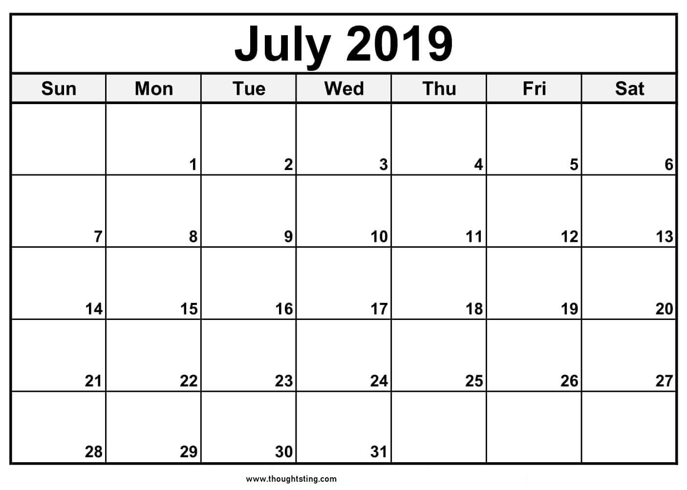 July Calendar 2019 Printable Template - Free Printable Calendar throughout Blank July Calendar Printable