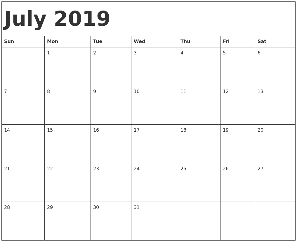 July Calendar 2019 Printable Template - Pdf, Word, Excel inside July Calendar Printable Template