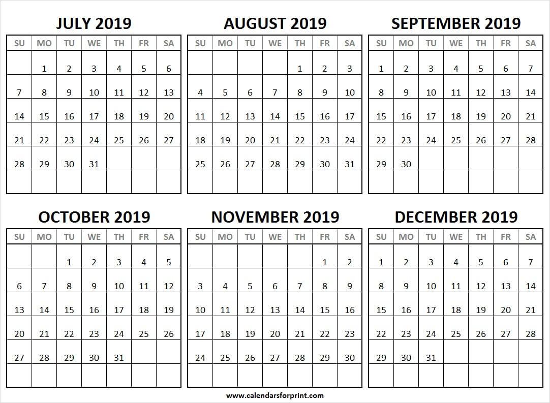 July December 2019 Half Year Calendar   2019 Editable pertaining to July Through December Blank Calendars