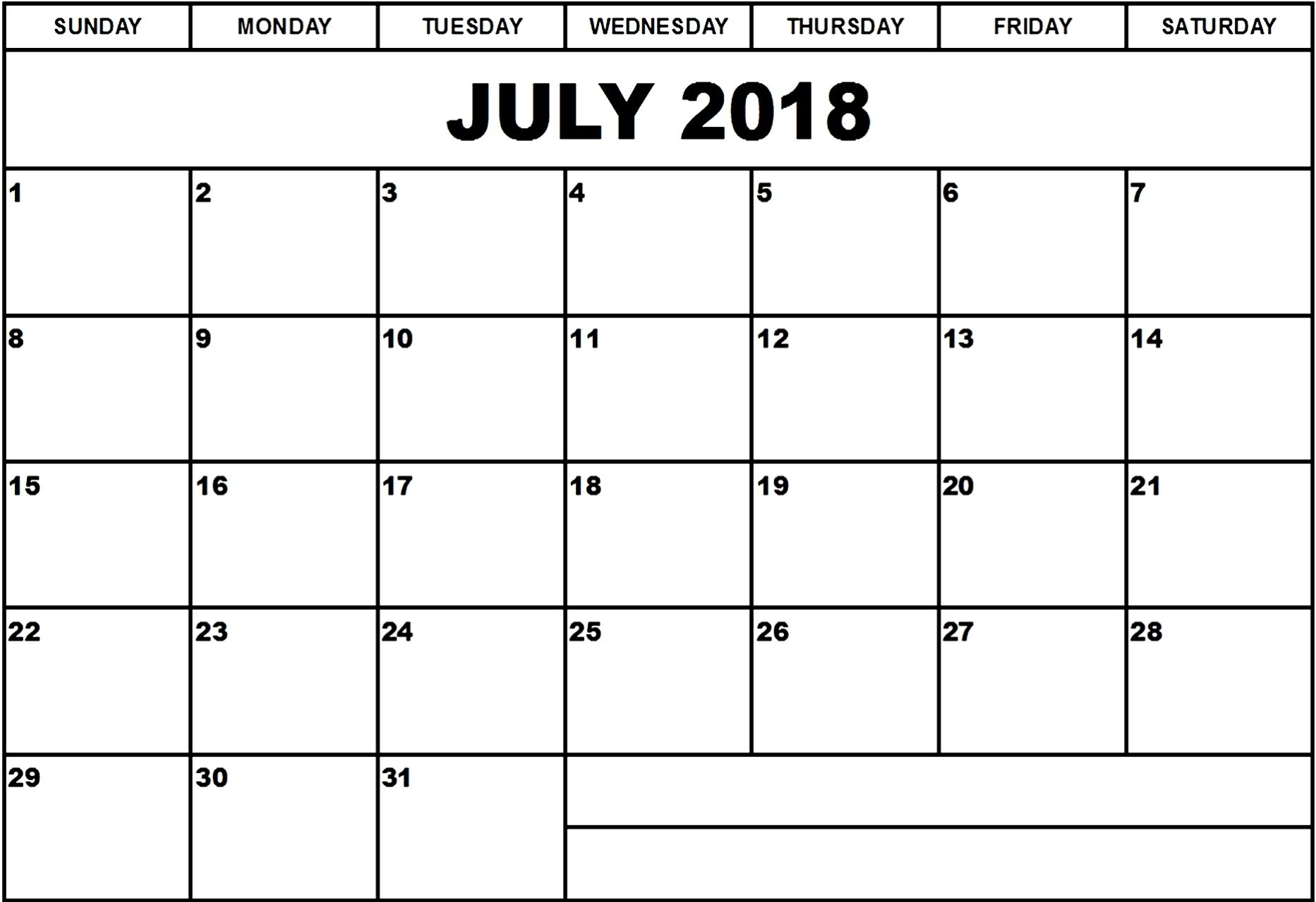 July Month 2018 Calendar Template - Free Printable Calendar, Blank pertaining to Monthly Calendar Template Clip Art