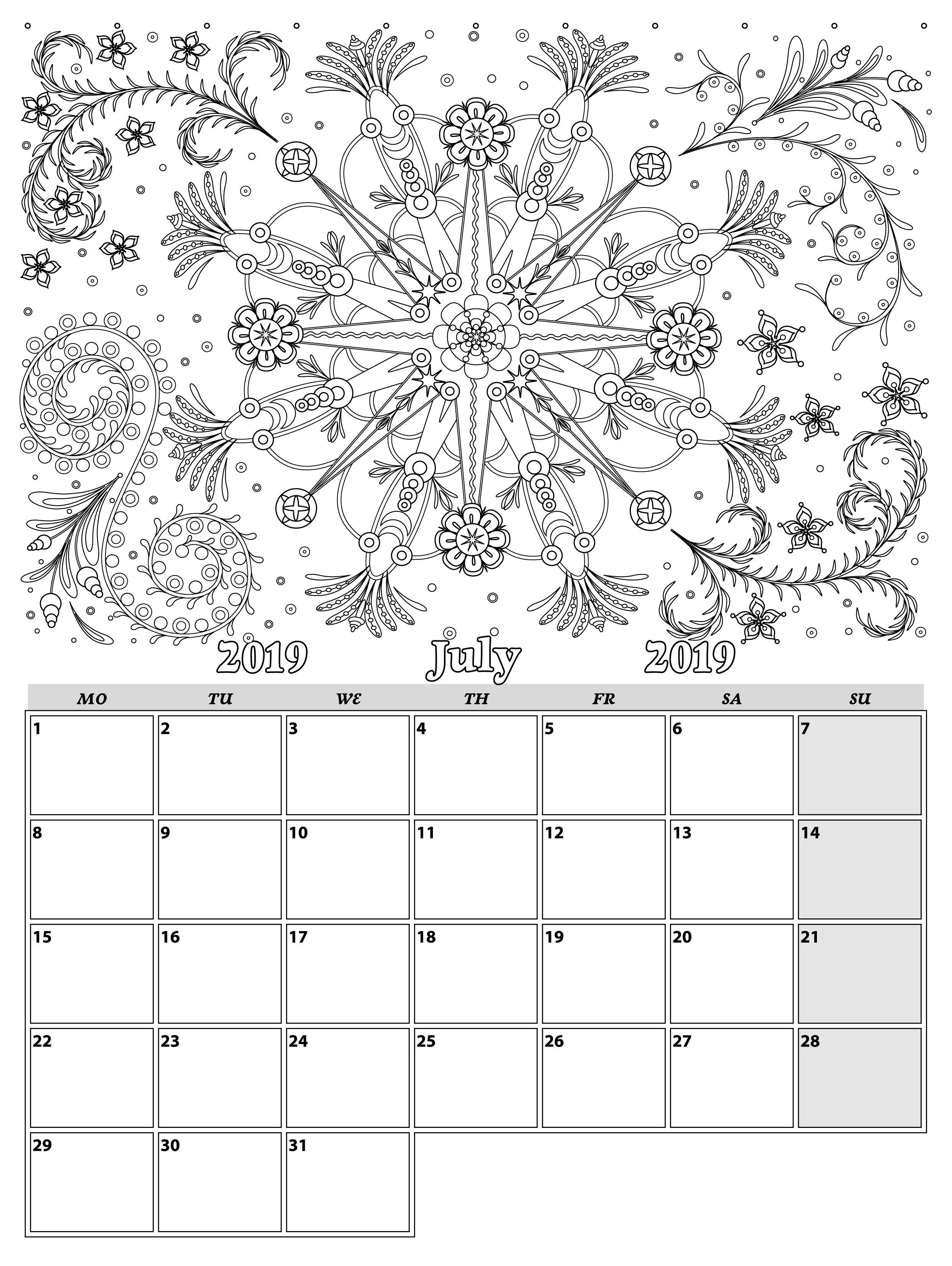 July. Monthly Planner 2019 In Doodle Style For Relax And Plan with regard to Doodle Monthly Planner Printer Templates