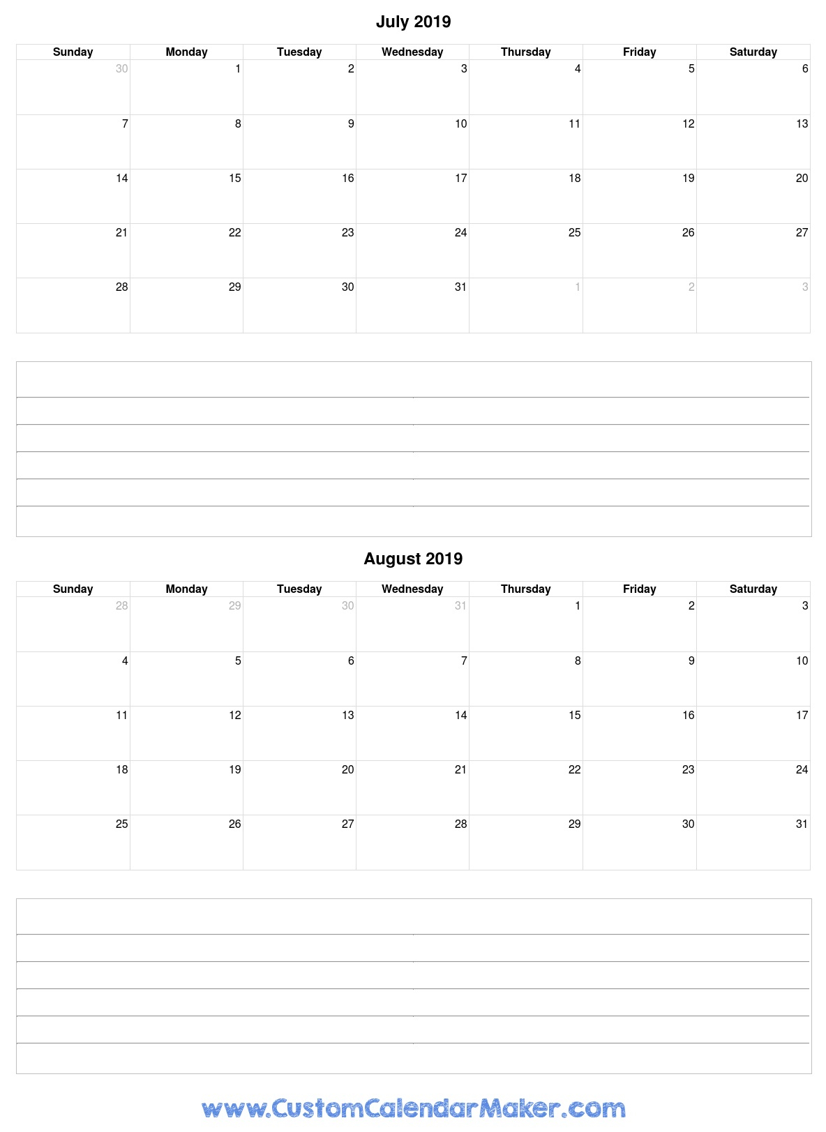 July To August 2019 Calendar Template With Notes in August Calendar Template With Notes