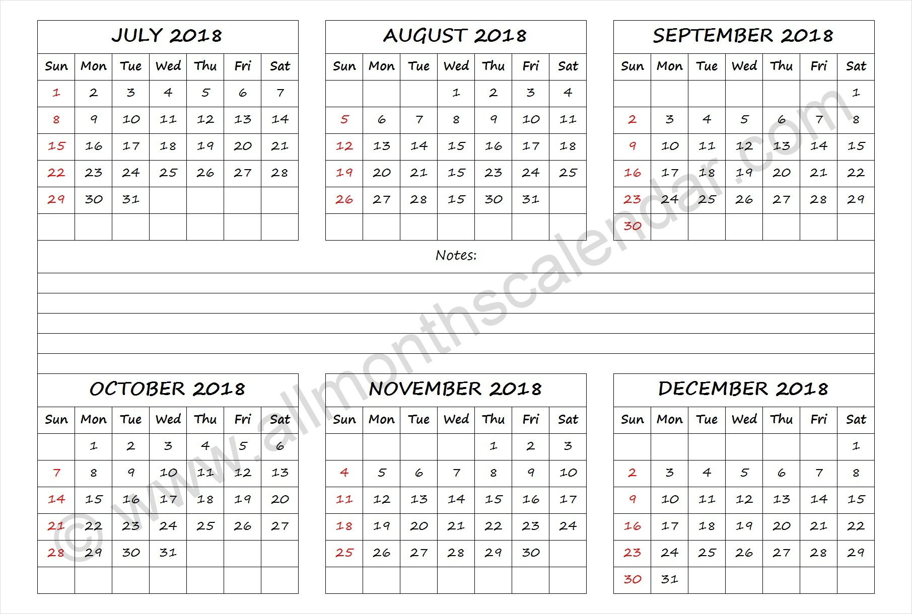 July To December 2018 Calendar Template   Month Calendar Design with July Through December Blank Calendars