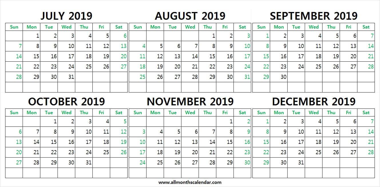 July To December 2019 Calendar Printable | 2019 Weekly in Printable Calendar Templates August Through December