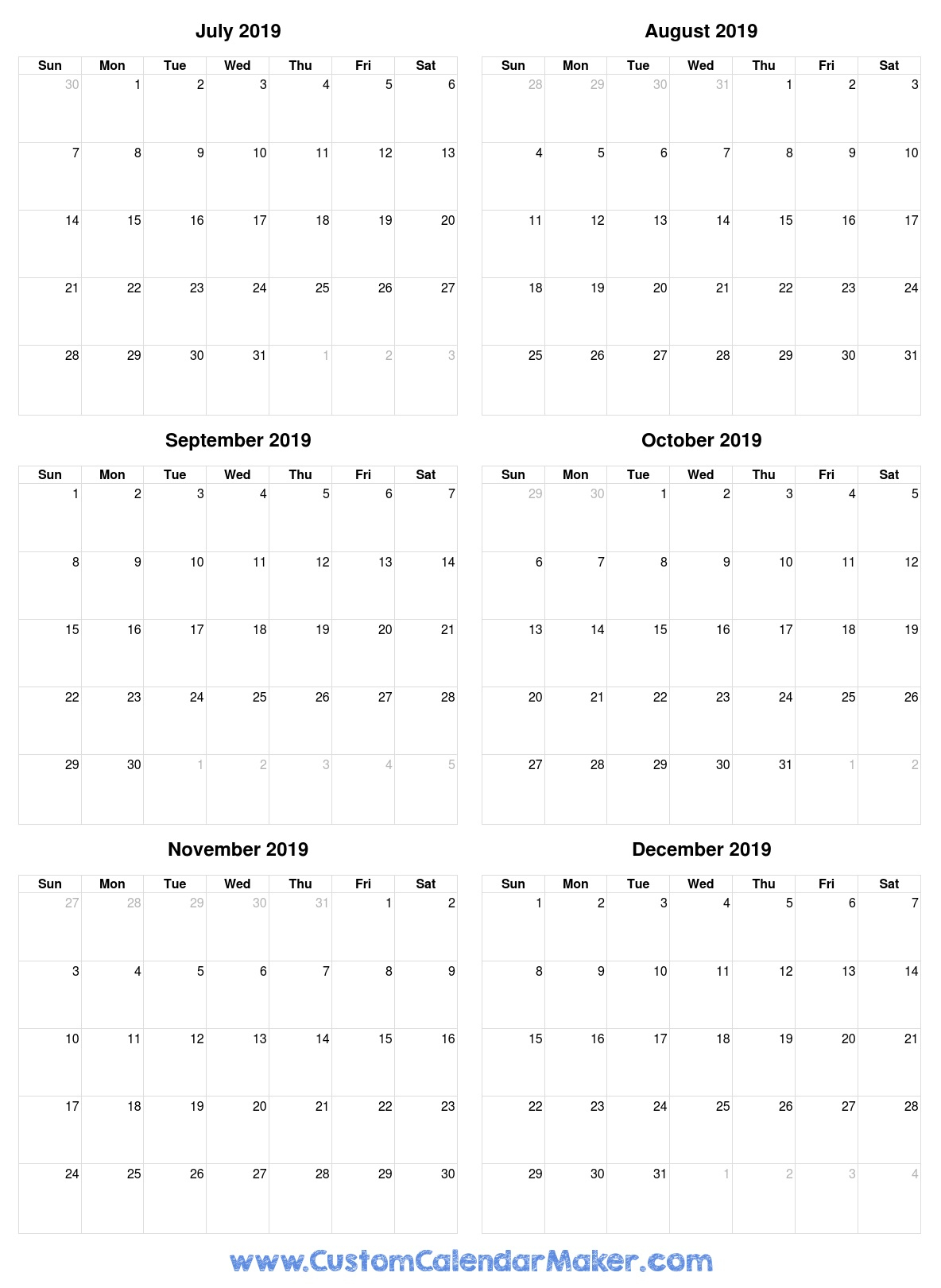 July To December 2019 Calendar Printable For Free throughout July Through December Blank Calendars