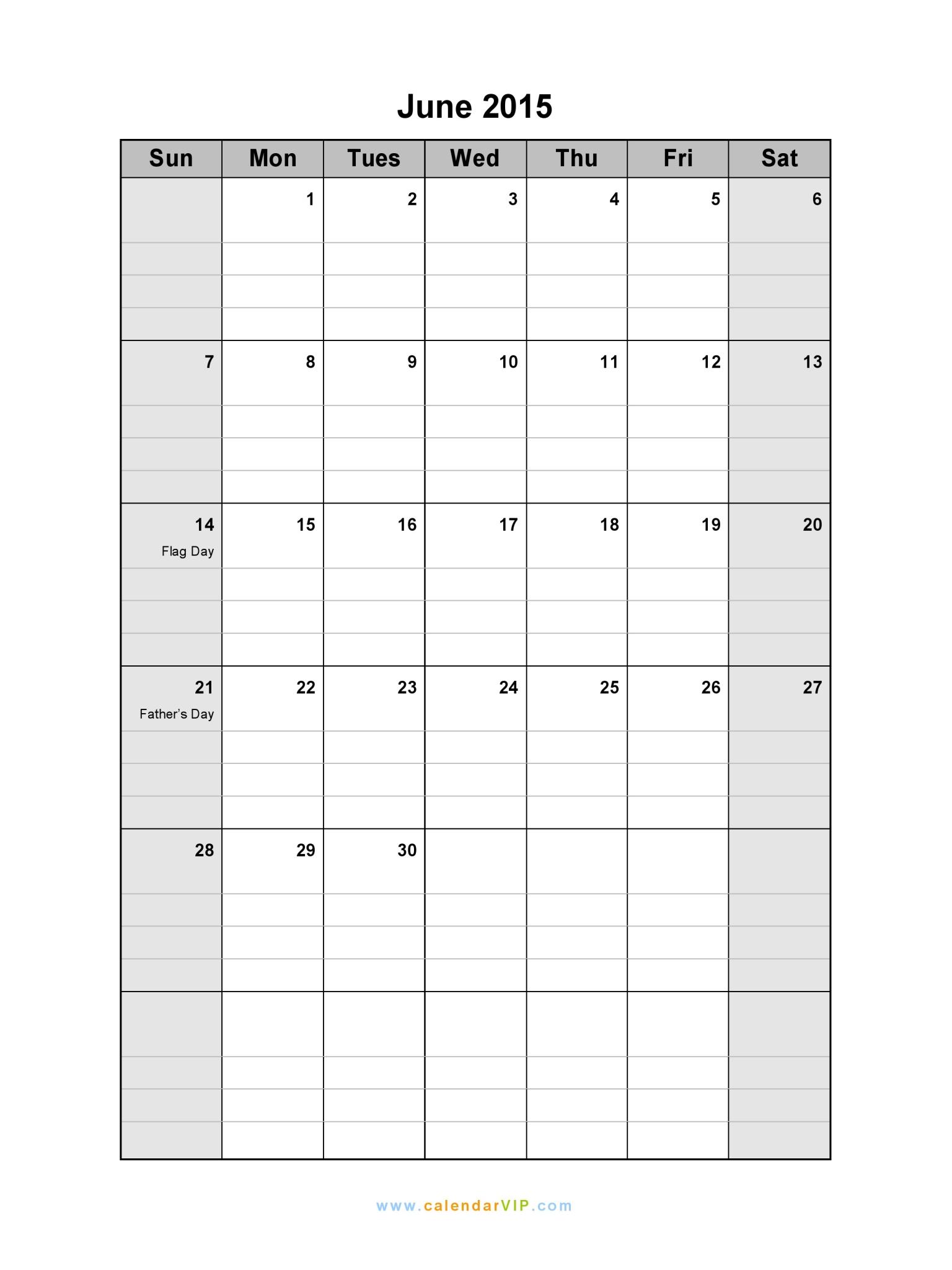June 2015 Calendar - Blank Printable Calendar Template In Pdf Word Excel with regard to Monthly Calendar Printable Blank Pdf