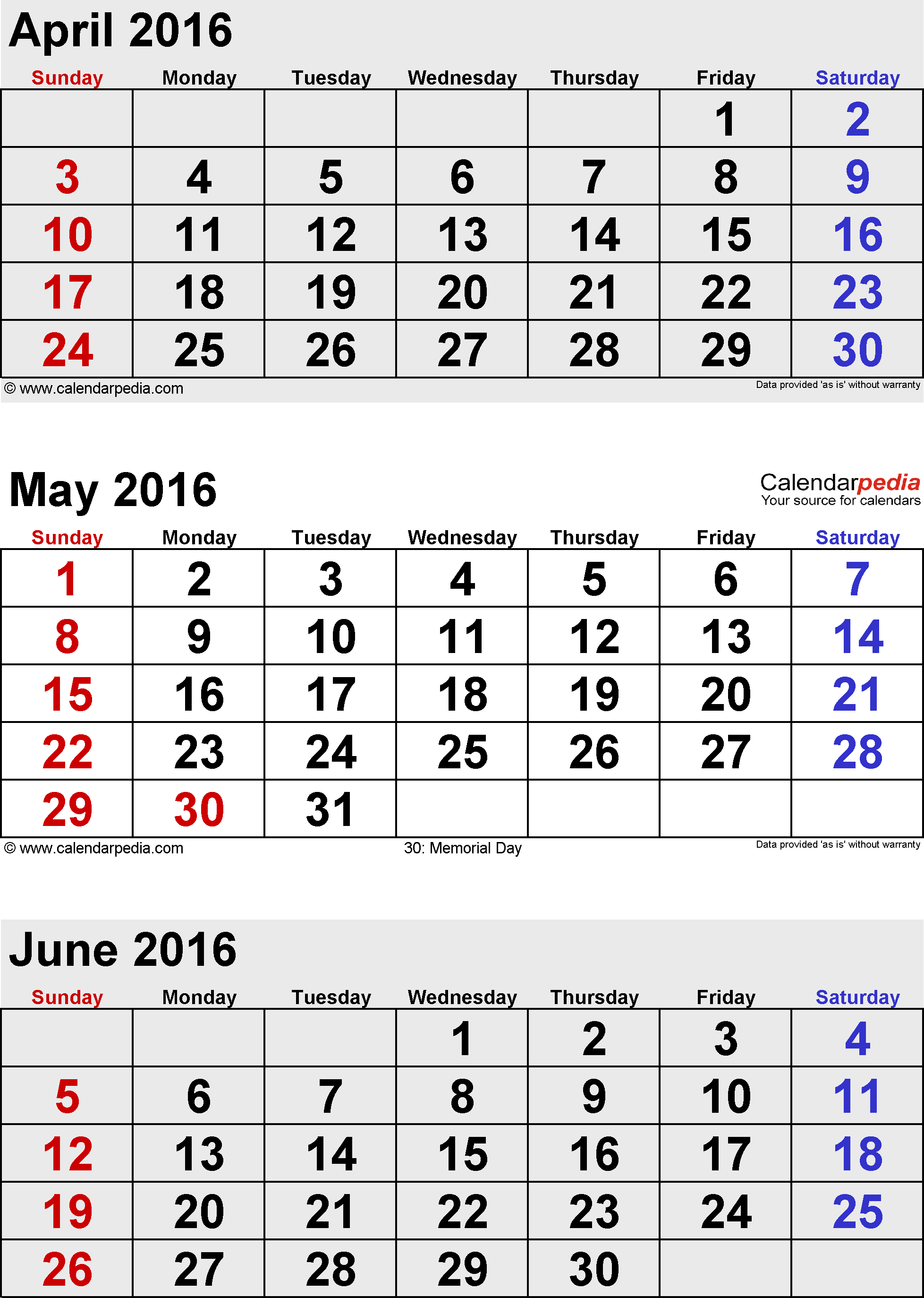 June 2016 Calendars For Word, Excel & Pdf with regard to Printable 3 Month One Page April May June Calendar Template