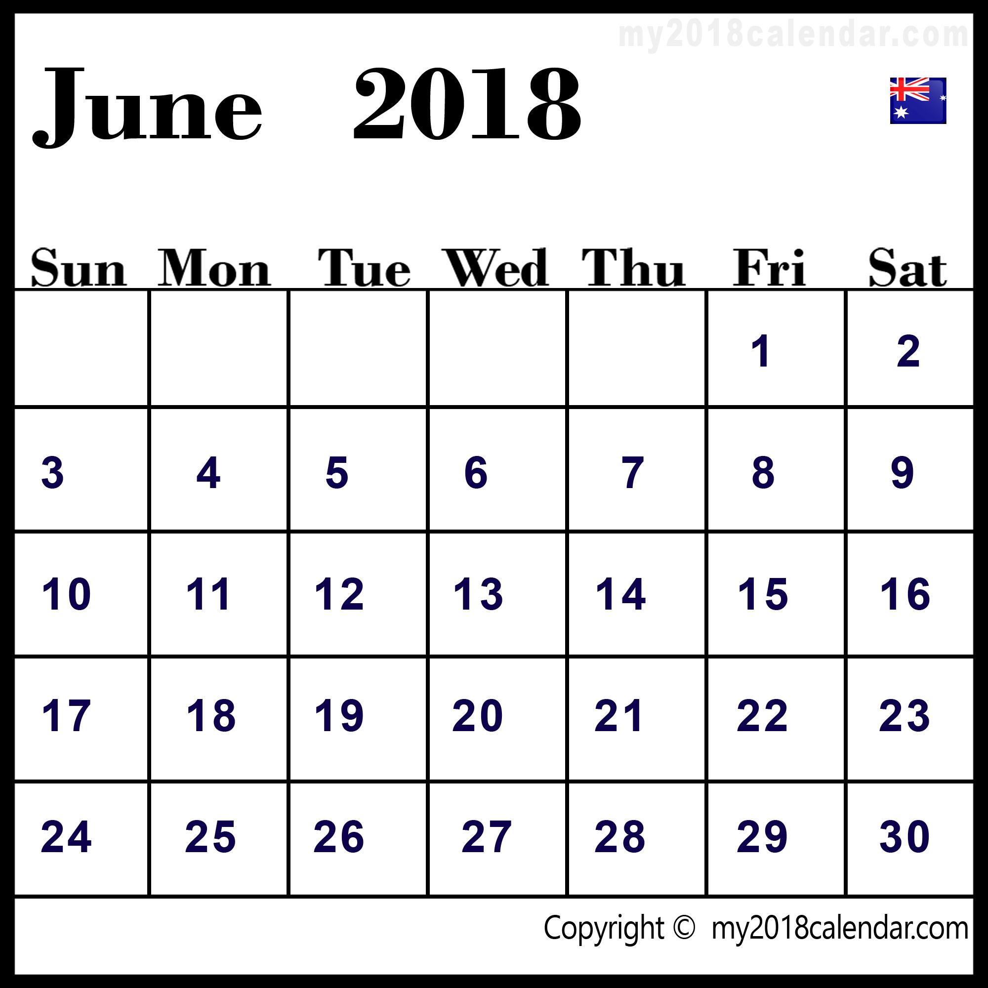 June 2018 Calendar Australia with Calendar June Template Australia