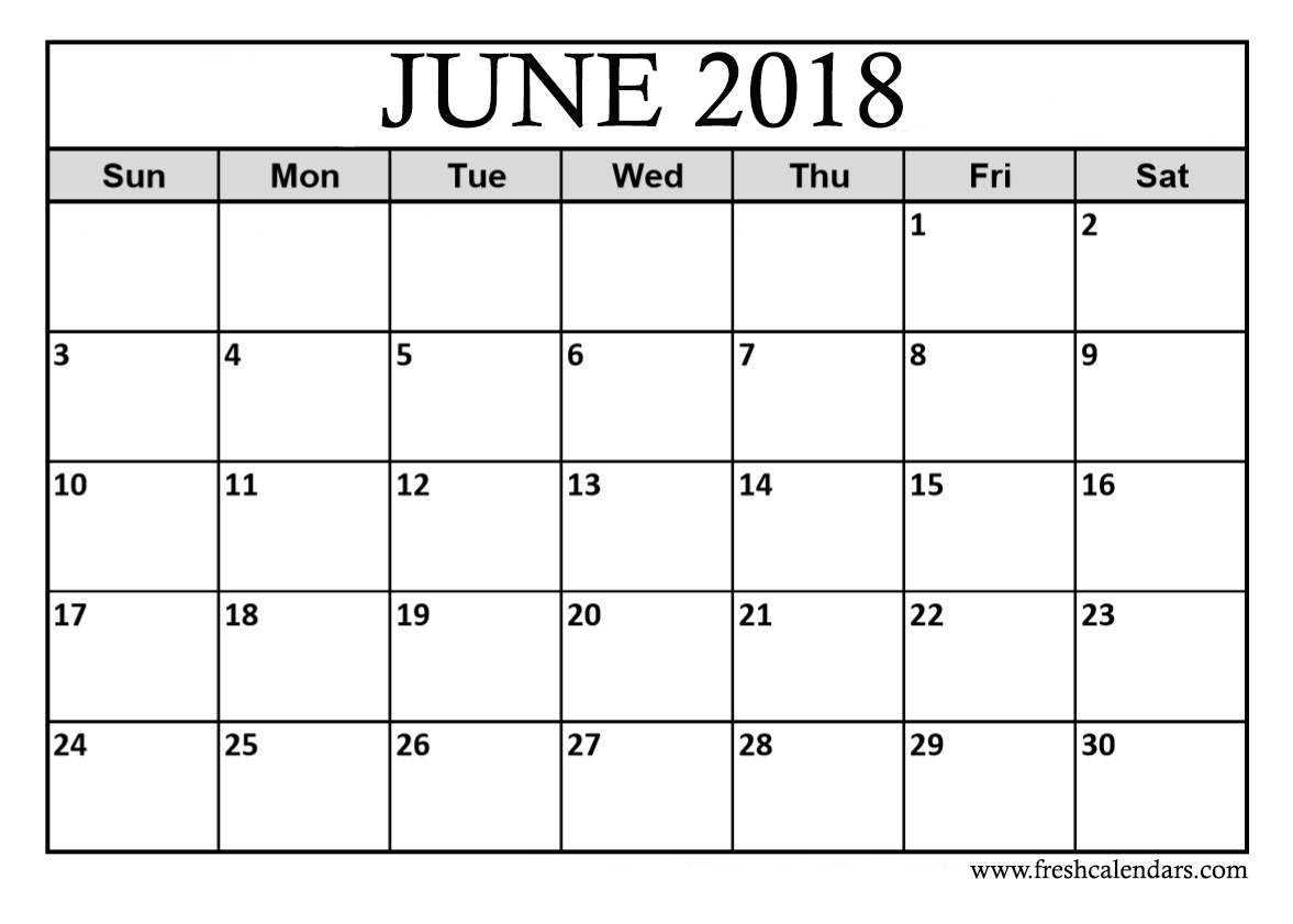 June 2018 Calendar Printable - Fresh Calendars inside Printable Blank Calendar June