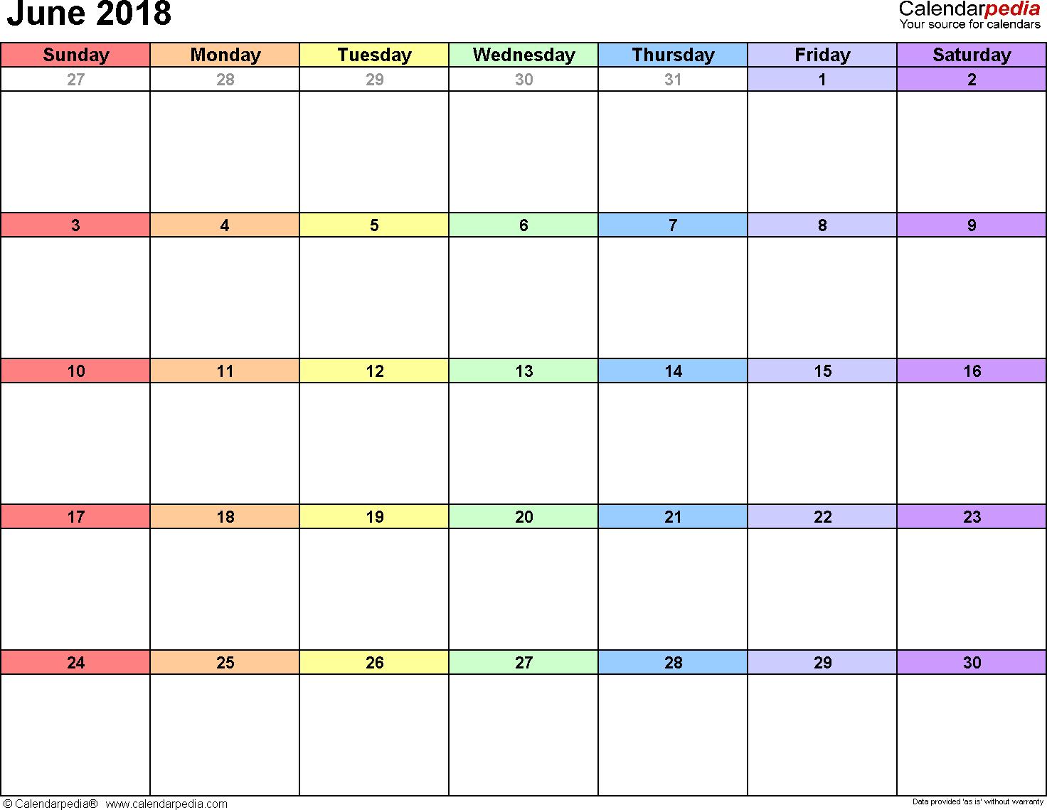 June 2018 Calendars For Word, Excel & Pdf regarding Calendar June Template Australia