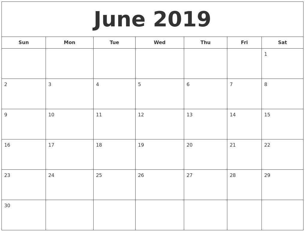 June 2019 Blank Calendar Landscape And Vertical Layout - Free regarding 1 Month Calendar Printable Blank