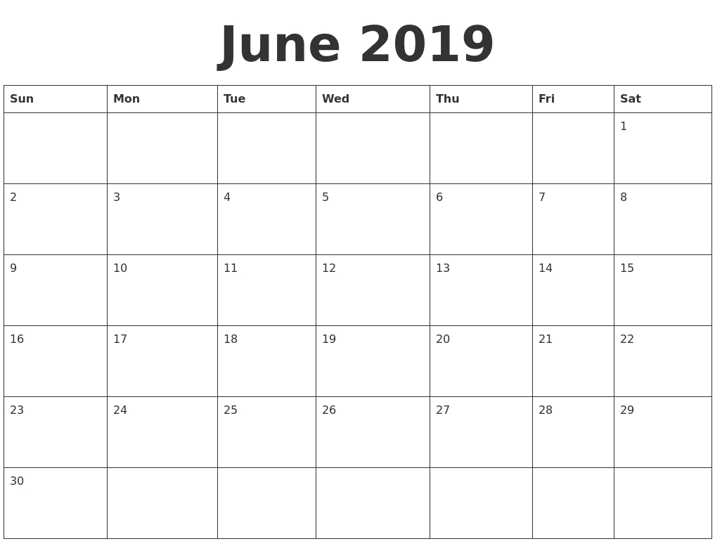 June 2019 Blank Calendar Template in Printable Blank Calendar June