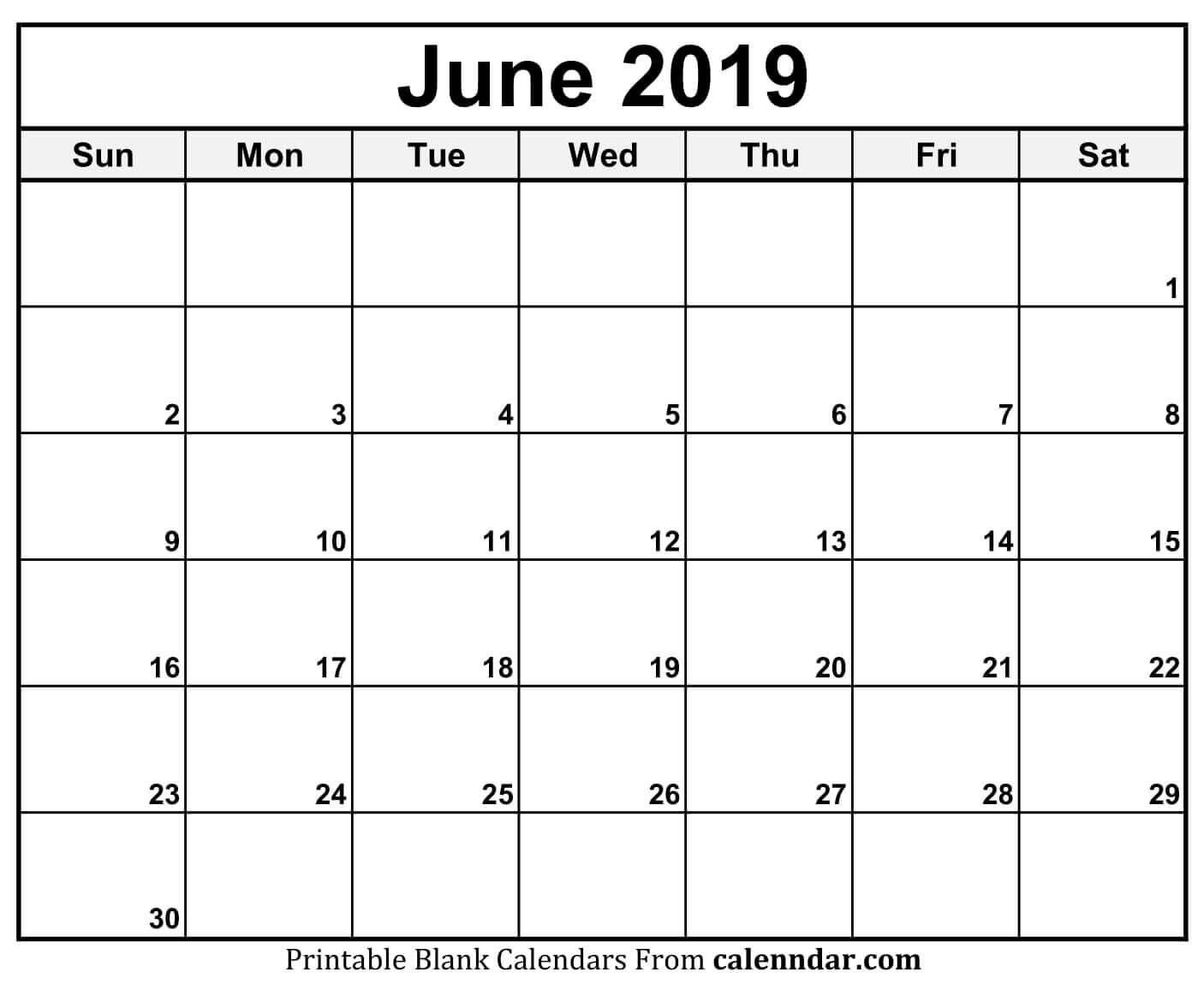 June 2019 Calendar Blank Template | Printable Monthly Calendar throughout June Calendar Printable Template