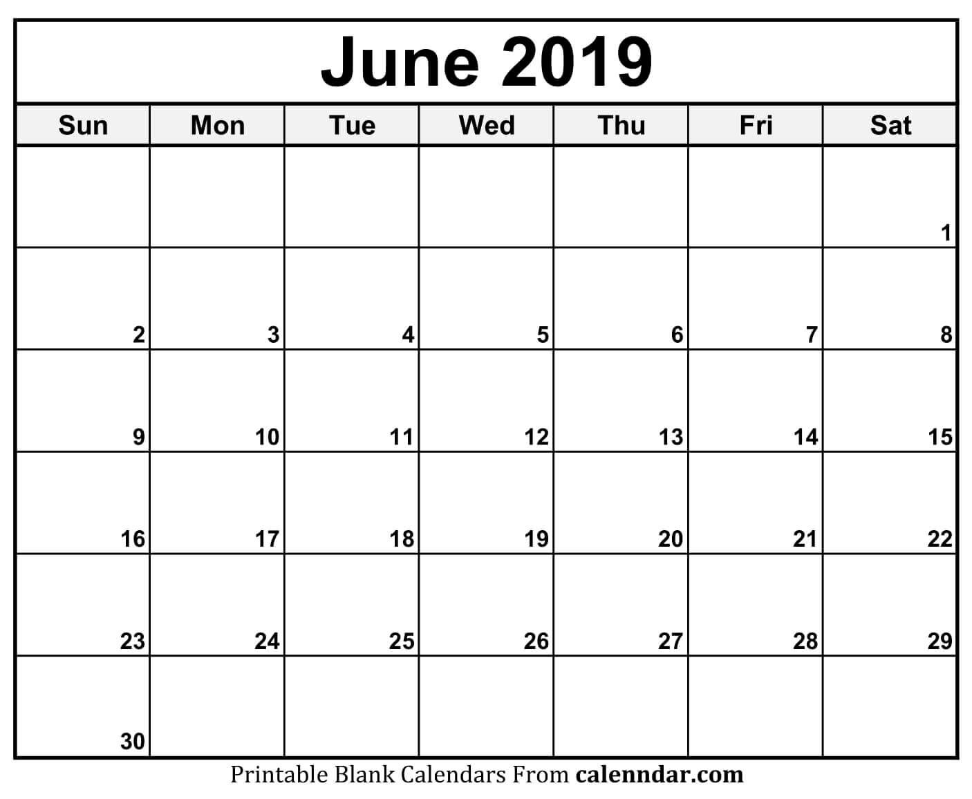 June 2019 Calendar Blank Template | Printable Monthly Calendar within Printable Blank Calendar June