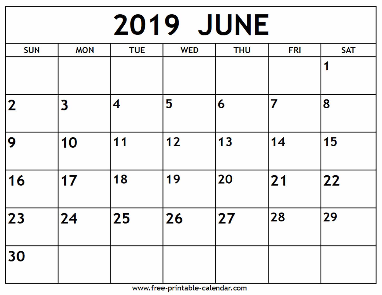 June 2019 Calendar - Free-Printable-Calendar pertaining to Print Off A Blank Calendar For