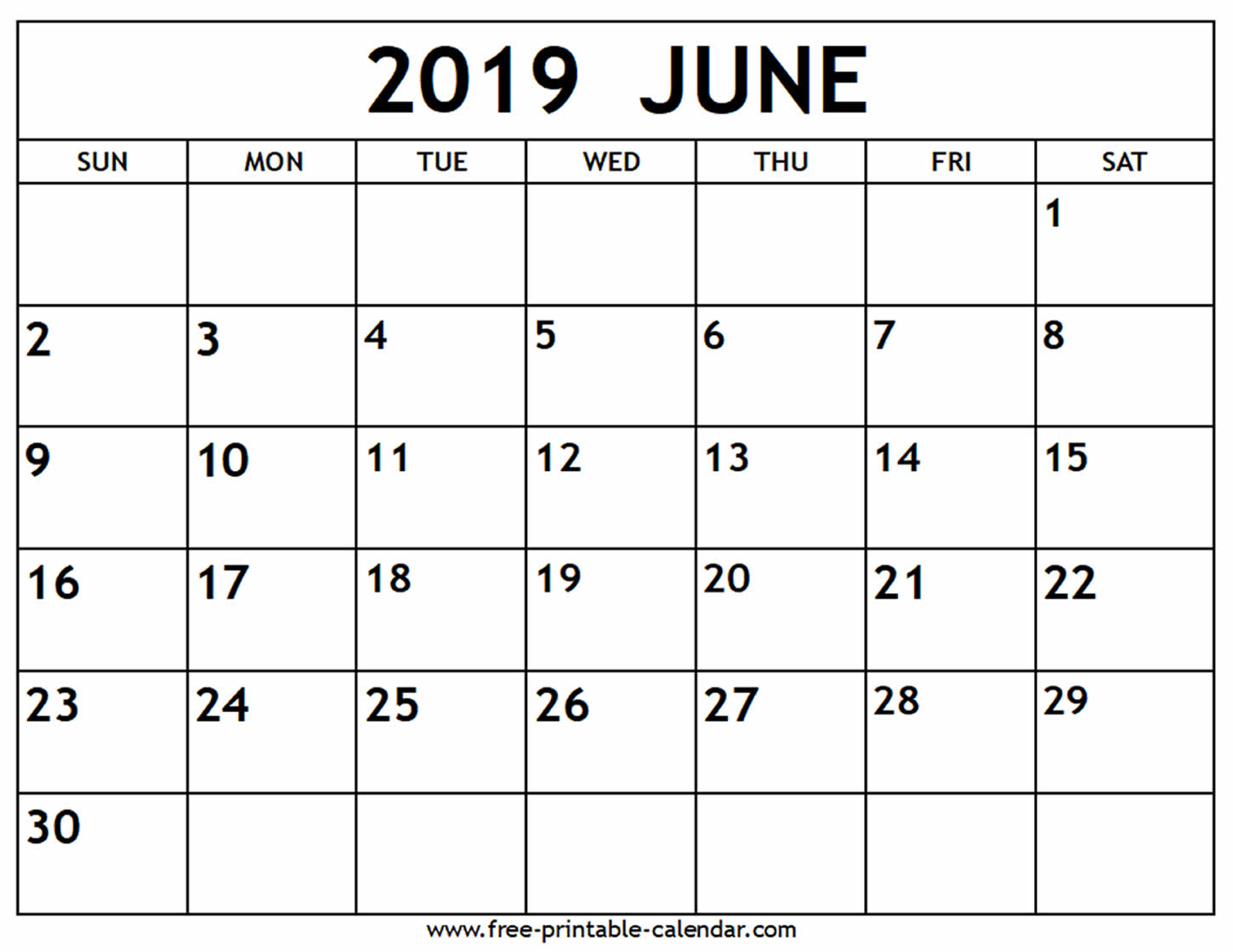 June 2019 Calendar - Free-Printable-Calendar throughout Printable Blank Calendar June