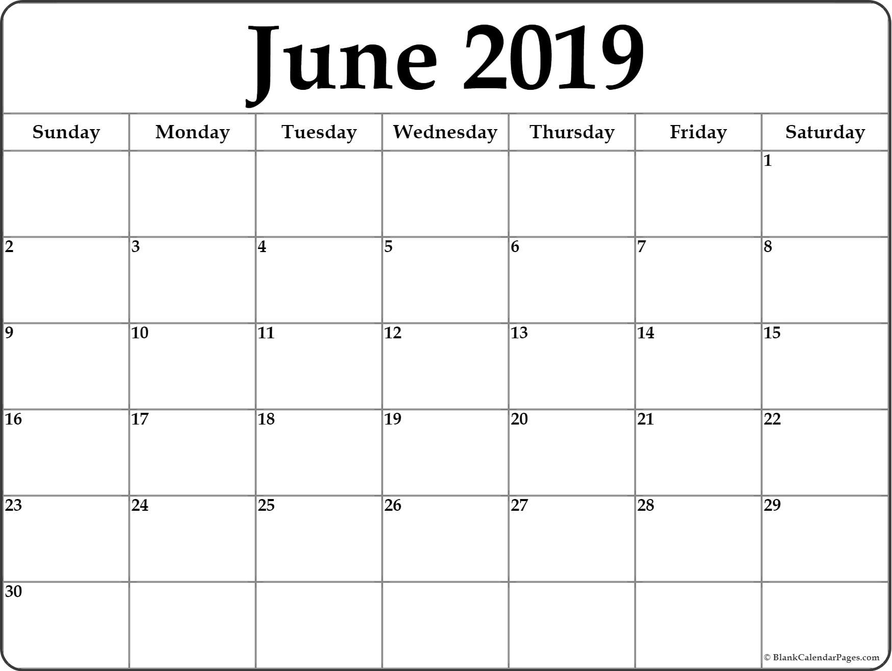 June 2019 Calendar | Free Printable Monthly Calendars for Printable Blank Calendar June