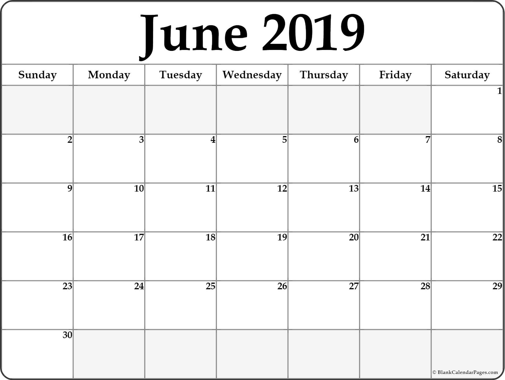 June 2019 Calendar | Free Printable Monthly Calendars in Print Off A Blank Calendar For