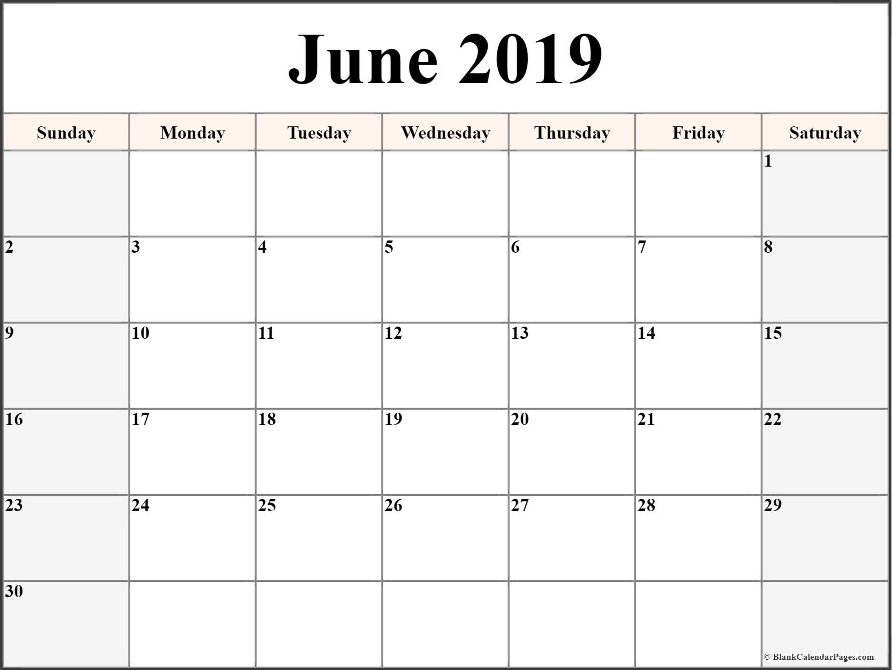 June 2019 Calendar | Free Printable Monthly Calendars with Large Printable Blank Calendar Pages