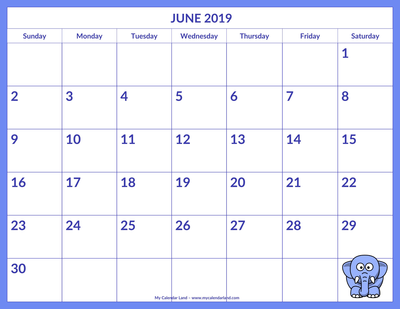 June 2019 Calendar - My Calendar Land regarding Monthly Planner Template For Children