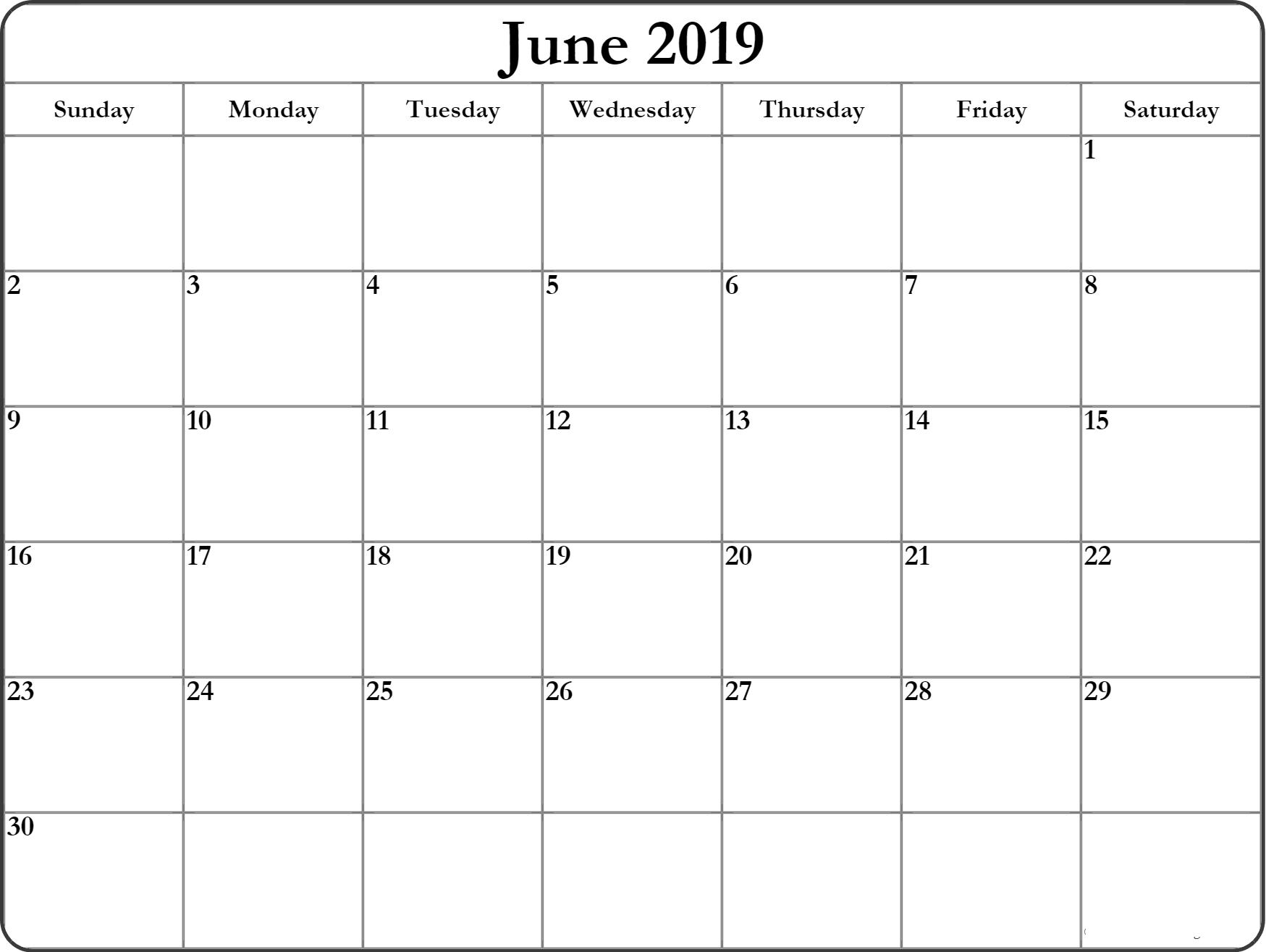 June 2019 Calendar Printable – Get Here Free June 2019 Calendar regarding Calendar June Template Australia