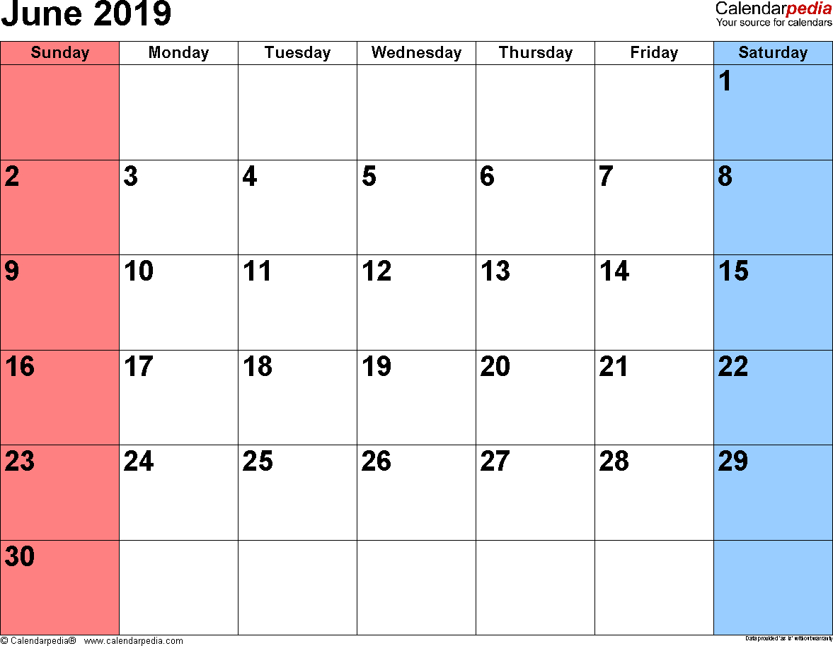 June 2019 Calendars For Word, Excel & Pdf intended for Free Printed Calendars From June 2019 To June 2020