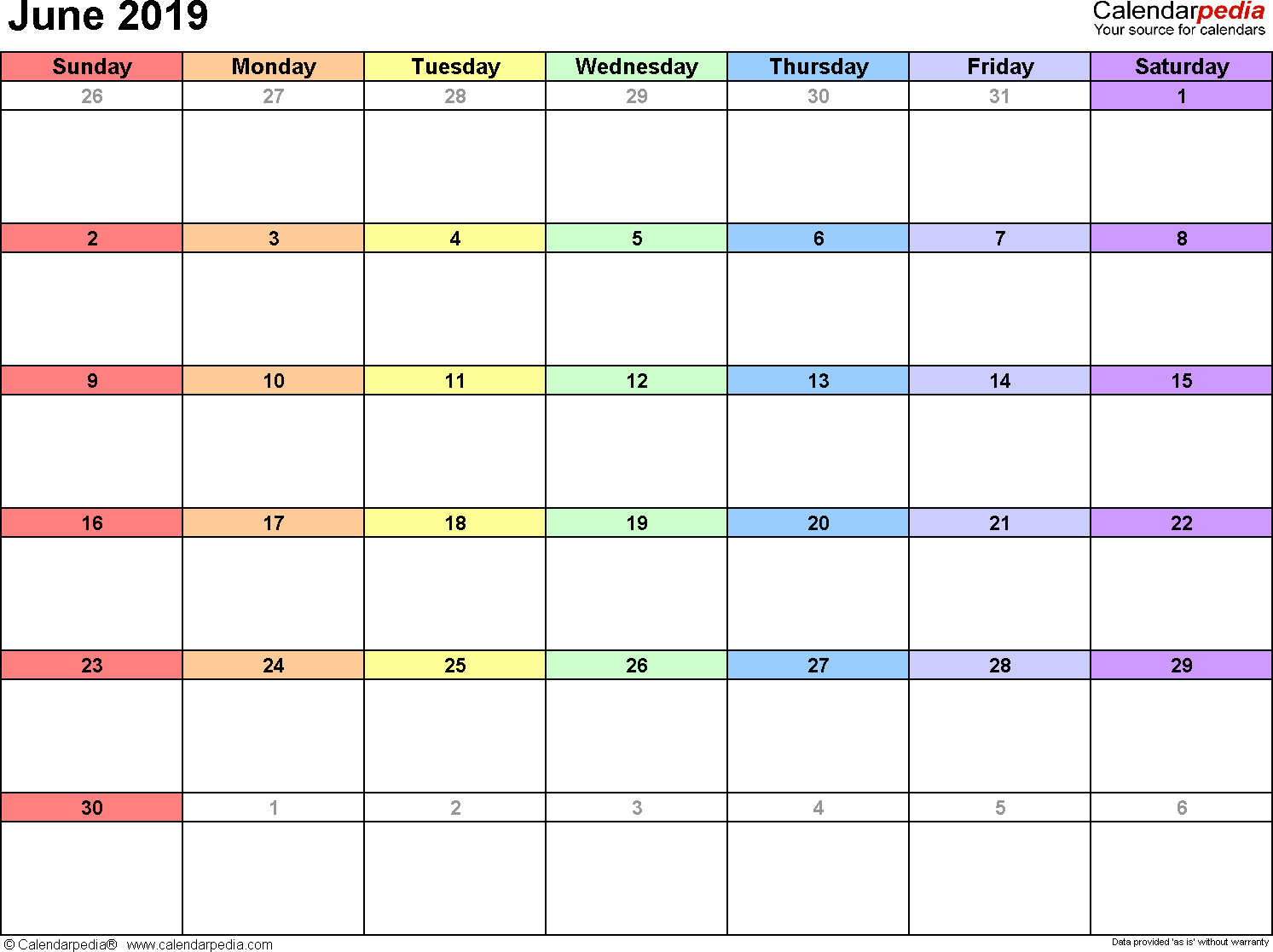 June 2019 Calendars For Word, Excel & Pdf regarding Printable Blank Calendar June