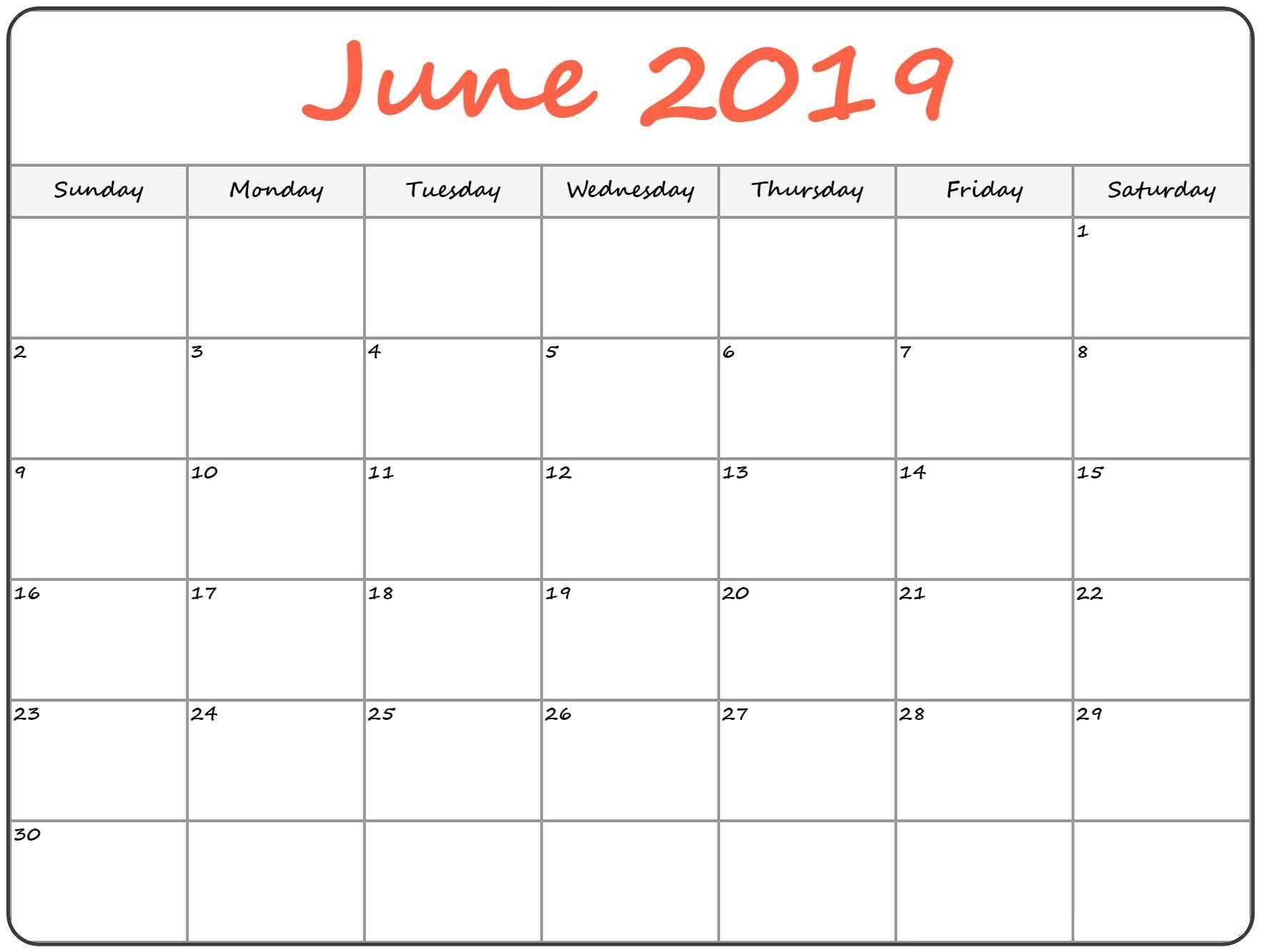 June 2019 Holidays Calendar | Blank June 2019 Calendar Printable throughout June Calendar Printable Template