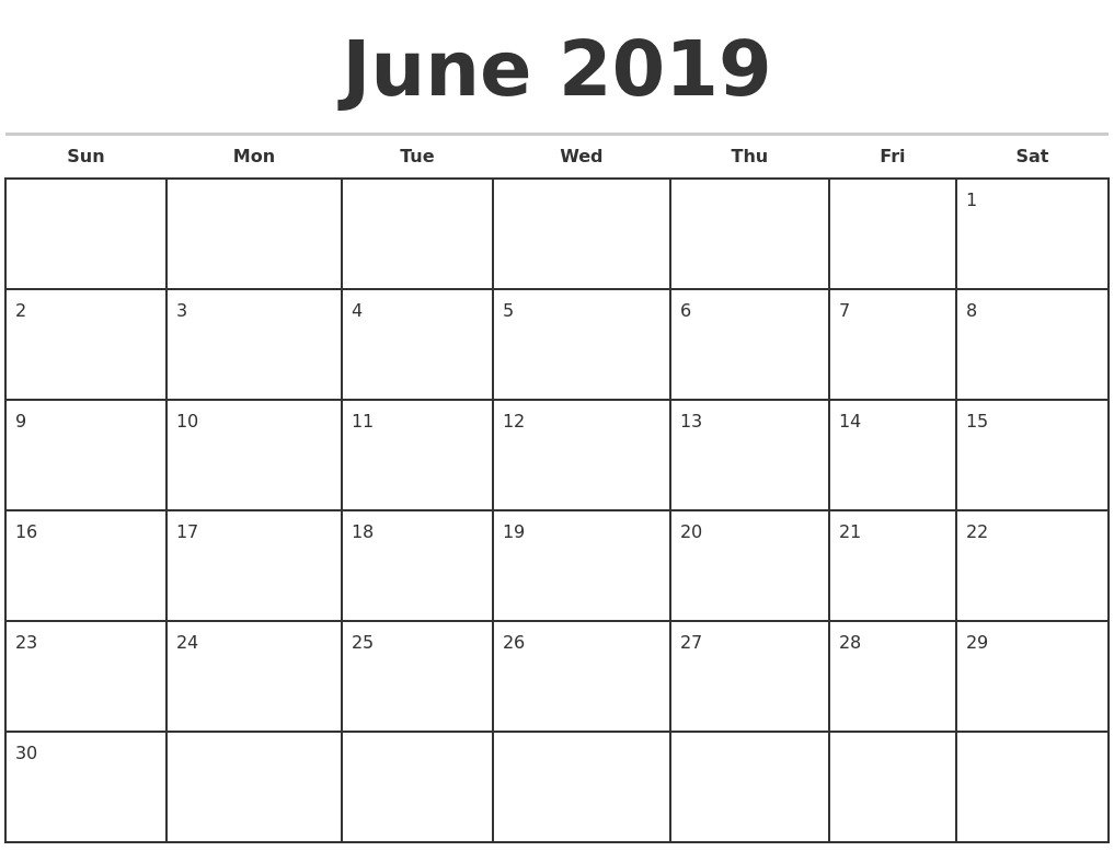 June 2019 Monthly Calendar Template regarding Printable Monthly Calendar Templates