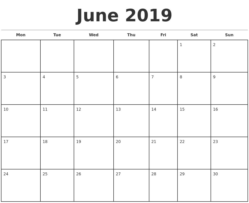 June 2019 Monthly Calendar Template with regard to June Calendar Printable Template