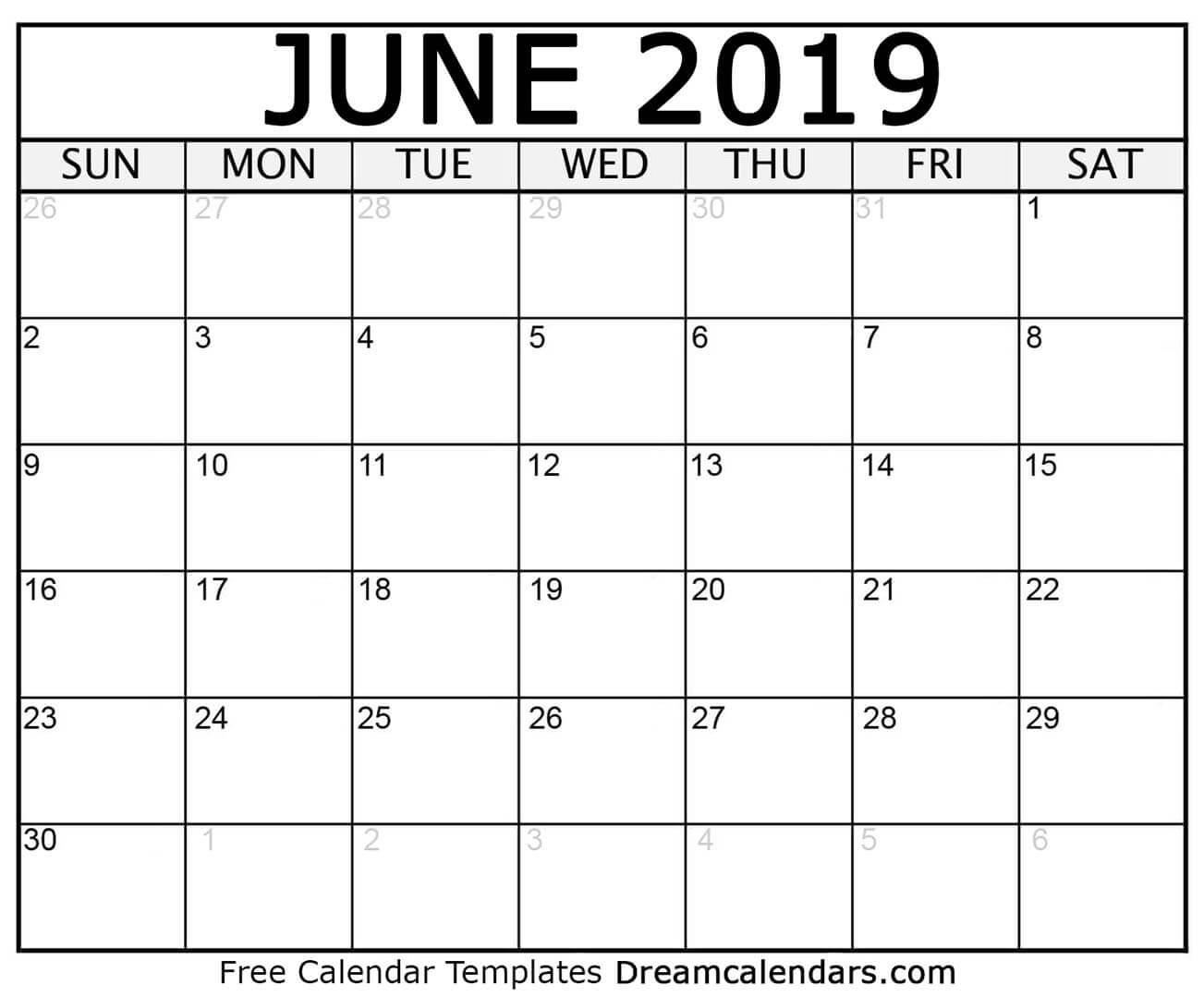 June 2019 Monthly Printable Calendar throughout June Calendar Printable Template