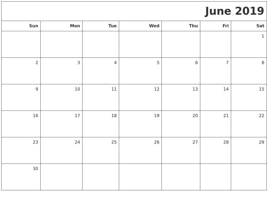 June 2019 Printable Blank Calendar with Printable Blank Calendar June