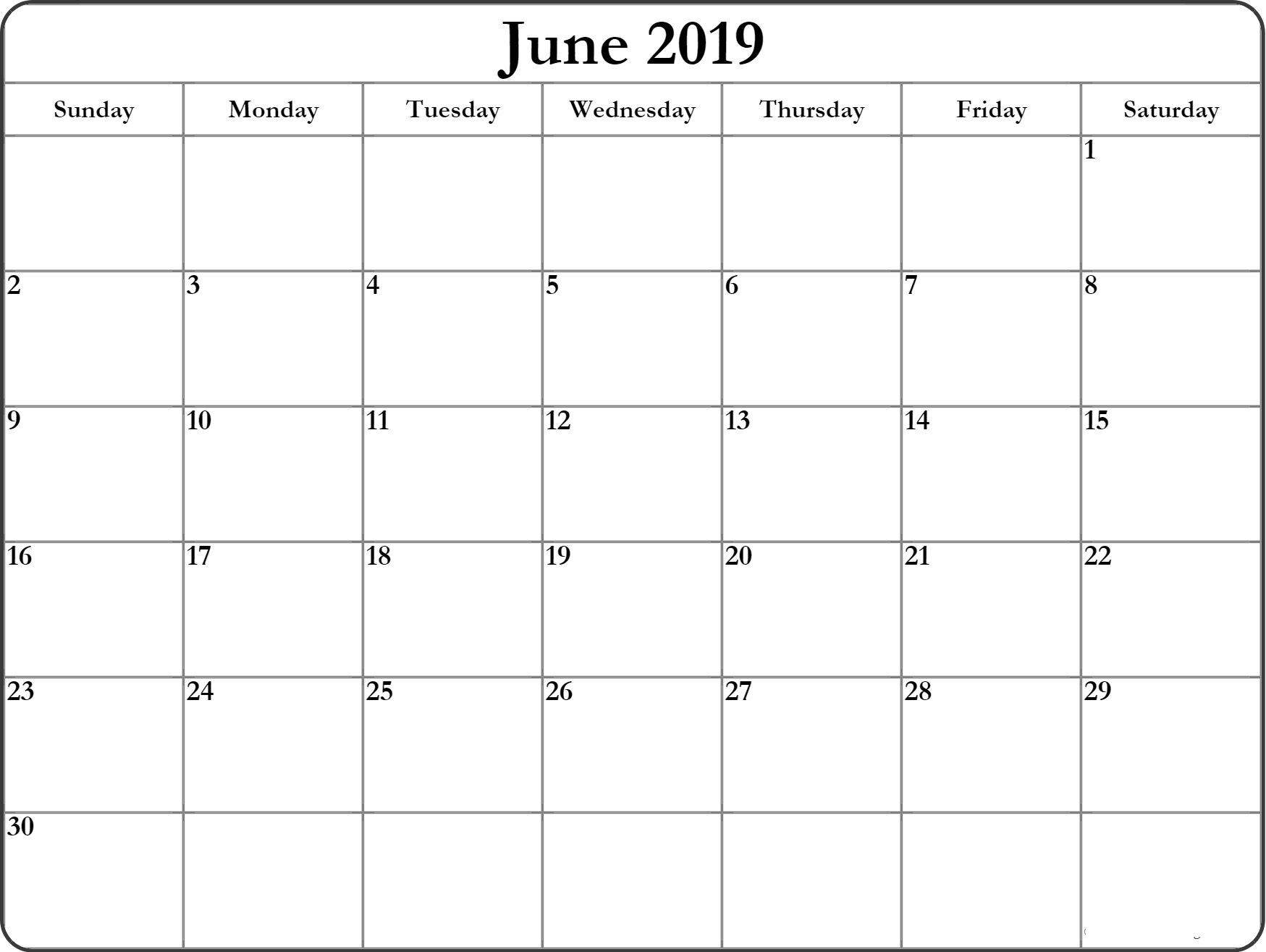 June 2019 Printable Calendar Blank Templates - Calendar Hour - 2019 within June Calendar Printable Template