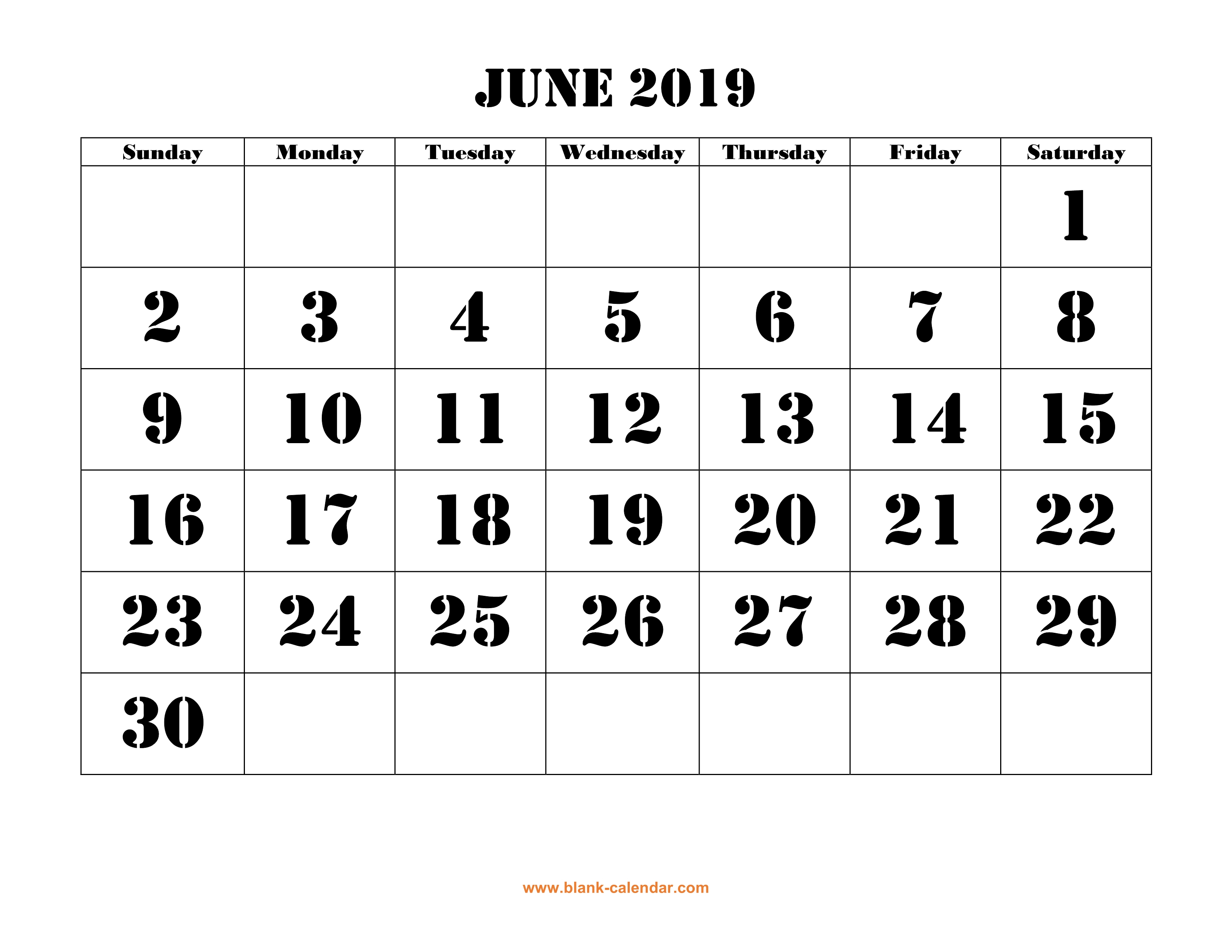 June 2019 Printable Calendar | Free Download Monthly Calendar Templates within Blank Calendar With Open Squares
