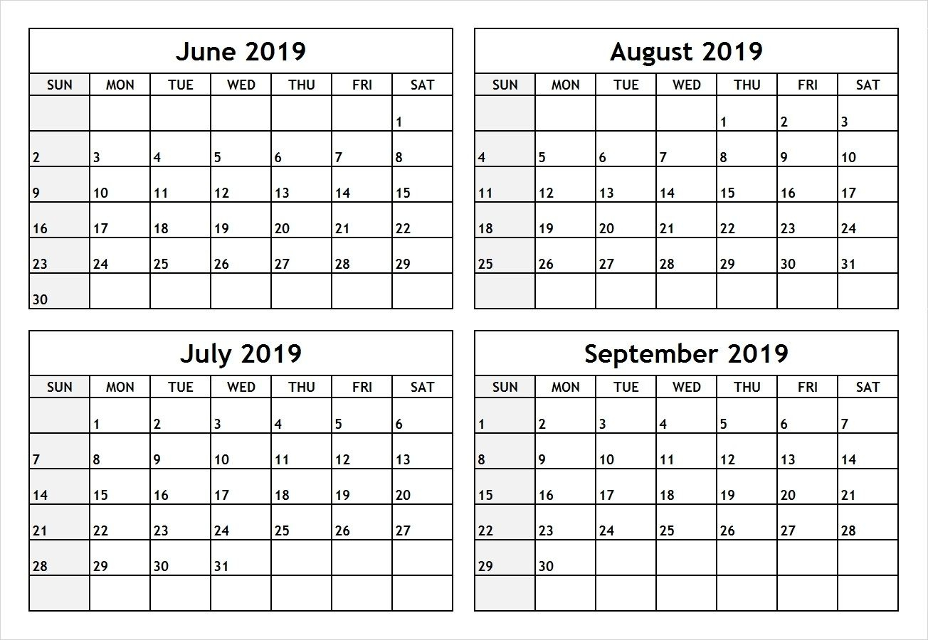 June 2019 Printable Calendar Pdf Free Monthly Template intended for Template June July August