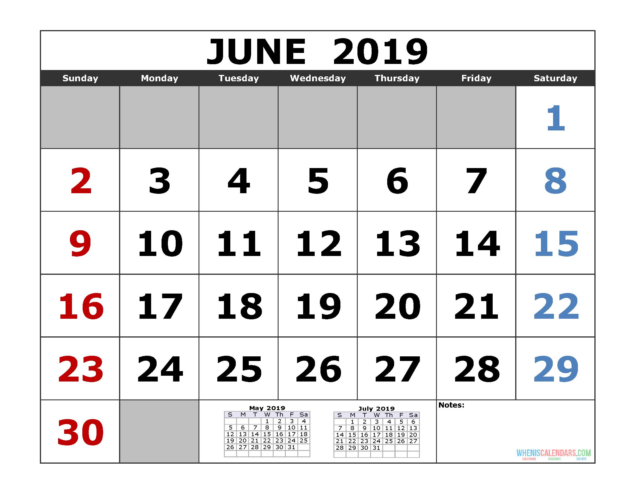 June 2019 Printable Calendar Template (3 Month Calendar) | Free for 3 Month Calendar Templates May June July